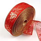 Vektenxi Gold Red Glitter Christbaumschmuck Wired Edge Christmas Ribbon Portable und nützlich