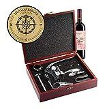 AMAVEL Sommelier Set mit 10 Wein-Accessoires, Geschenkbox aus Holz mit Plakette und Personalisierter...