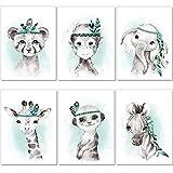 artpin® 6er Set Bilder Kinderzimmer Jungen Mädchen in Mint Grau Feder - Poster Wald Dschungel...