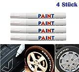 WEIß / WEISS 4x Stück Reifen Stift Reifenmarker Auto, Motorrad, Fahrradreifen...