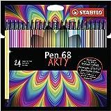 Premium-Filzstift - STABILO Pen 68 - ARTY - 24er Pack mit Hängelasche - mit 24 verschiedenen Farben