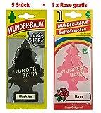 Wunderbaum 5 Stück Black Ice Wunder-Baum Lufterfrischer Duftbaum Original inkl. 1 x Gratis Rose...