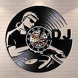 GVC DJ Plattenspieler Hip Hop Wanduhr Nachtclub Musikclub Wandkunst Vintage Schallplatte Wanduhr...