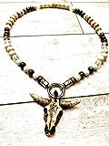 Wikinger-Kette in Schwarz, Weiß oder Hellbraun | Bullskull | Bullenschädel Perlenkette |...