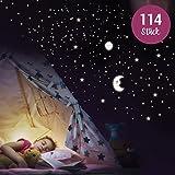 WANDKINGS Wandsticker 'Sonne, Mond und Sterne XL-Set' 114 Sticker, Fluoreszierend & im Dunkeln...