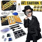 Detektiv Set Kinder Kostüm Geburtstag Spion Fingerabdruecke Experimente Spionagebrille...