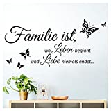 Grandora Wandtattoo Familie ist wo Leben beginnt I schwarz (BxH) 80 x 40 cm I Flur Diele Wohnzimmer...