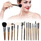 15-teiliges professionelles Make-up-Pinsel-Kit Nussbaumgriff Kosmetikpinsel Foundation Puder...