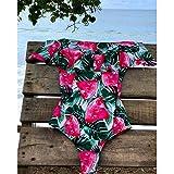 HOGEOOG Rschen-Damen-Badeanzug Einteiliger Badeanzug Mit Blumenmuster Push-Up-Bodysuit Bedruckter...