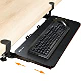 Tastaturablage mit Klemme, 66 x 25,4cm, ergonomisch, ausziehbar, Unterbauschublade und...