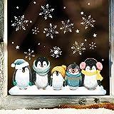 Wandtattoo Loft Fensterbild Weihnachten Pinguine Schneeflocken Wiederverwendbare Fensteraufkleber...