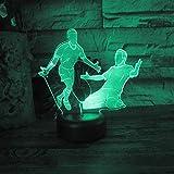 3D Fußball Lampe Illusion Optische Led Nachtlicht Optik Illusionen Nachtlampe 7 Farben Touch...