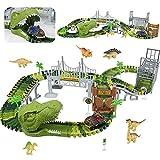 TONZE Dinosaurier Spielzeug Cars Rennbahn-Autorennbahn Dinos Kinder Auto Spielzeug Jungen,Rennbahn...