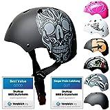 Skullcap® Skaterhelm Kinder Schwarz Skull - Fahrradhelm Jungen ab 6 Jahre Größe 53-55 cm - Scoot...