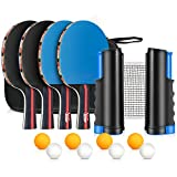 XDDIAS Tischtennis Set, 4 Sport Tischtennisschlaeger/Schlägern+ 8 Tischtennisbällen+Verstellbare...