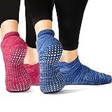 LA Active Grip Socken - 2 Paar - Yoga Pilates Barre Ballet Abs Noppen Rutschfeste (Blau und Rot,...