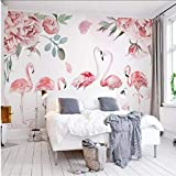 xbwy 3D-Tapete, Motiv: rosa Flamingo, Aquarell-Rose, Tv