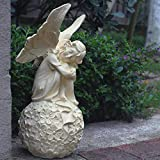 GenericBrands Garten Garten Dekorationen im Freien European Vintage Daisy Angel Flower Fairy Resin...