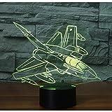 XKALXO 3D Nachtlicht Led Nachtlicht Hang Missile Bomber Kommen 16-Farben-Touch-Fernbedienung Licht...
