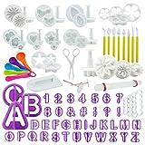 int!rend 94-teiliges Fondant Ausstecher Set, Ausstechformen für Buchstaben, Zahlen, Motive für...