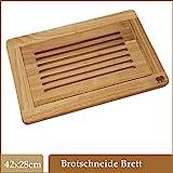 DEKOFANT Brot-Schneidebrett Edelholz mit Krümelfang | Auffangschale und praktischer Krümelrille...