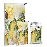 Plsdx Gelbe und schöne Sonnenblumen Feld 2 Pack Mikrofaser wiederverwendbares Handtuch Strandtuch...