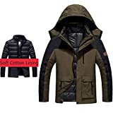 Herren wasserdichte Skijacke 3-in-1 Outdoor Mountain Winddicht Puffer Warm Mantel Gr. X-Small, braun