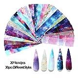 HUIJUNWENTI 10 Stück Holographic Nagel-Folien-Set Transparent AB-Farben-Nagel Art...