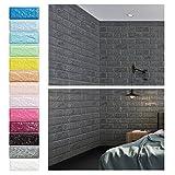 Grau 3D Ziegel Tapete, Wandpaneele Stereo Wandtattoo Papier Abnehmbare selbstklebend Tapete für...