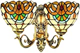DALUXE Tiffany Wandleuchten Mittelmeer Lampe Glasmalerei Lampshaes Schlafzimmer Korridor Wandleuchte...