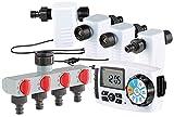 Royal Gardineer Bewässerungssystem: Bewässerungscomputer BWC-400 mit 4 Schlauch-Anschlüssen...