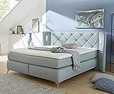 DELIFE Polsterbett Vinca Hellblau 180x200 mit Matratze und Topper