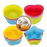 Xinzistar 24 Stück Muffinform Silikon Cupcake Formen BPA Frei Wiederverwendbare Muffinförmchen...