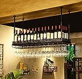 KDMB Europäisches hängendes Weinregal Metall Eisenregal Bar Decke Wandmontage Wein Champagner Glas...