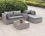 Enjoy Fit Rattan Polyrattan Lounge Sitzgruppe Garnitur Gartenmbel aus 4 Sitze Sofa, Hocker, Tisch...