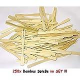 1a-becker 250 Bambus Spiee Picker Holz Pommes Gabeln Sticks Mini Cocktailgabel Party Grill