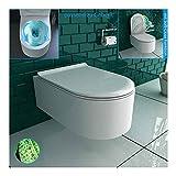 Alpenberger Rimless Hänge-WC aus robuster Keramik mit Befestigungselemente inkl. WC-Deckel mit...