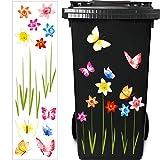 Mülleimer Blumen Aufkleber Eimer Dekorative Aufkleber Mülltonnen Blumen Aufkleber Abziehbild für...