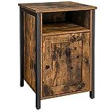 VASAGLE Nachttisch, Beistelltisch mit Ablage, offenes Fach, Metallgestell, Industrie-Design, 40 x 40...