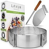 LAVUR ® Tortenring - Backform im 3er Set aus Tortenring, Kuchenretter und Küchenmesser -...