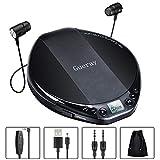Gueray Tragbarer CD Player HiFi Classic Persönlicher CD-Player mit Kopfhörer-Überspringschutz...