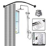 DFGENLY Duschvorhangstange, Stange Duschvorhang für Badezimmer, Teleskop L-Typ Halterung mit...