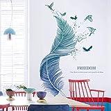 Wandtattoo für Wohnzimmer, Feder Wandsticker als Wanddekoration für Schlafzimmer Kinderzimmer...