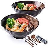 Porzellanschale mit Essstäbchen und Löffeln, 2 Sets japanische große Schüssel für Nudeln, Udon,...