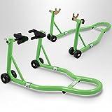 BITUXX® Motorradständer hinten & vorn Motorrad Montageständer Transportständer Grün Belastbar...