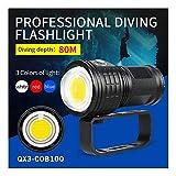 huichang Tauchlampe Unterwasser Taschenlampe, 50000 Lumen 80m wasserdicht LED taucherLampe - 500W...