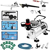 D4P Display4top 1/5 HP Mehrzweck-Airbrush-Kompressor-Kit-System, mit 2 Airbrushes: 0.3MMDual Action...