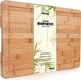 Premium Schneidebrett aus Bio Bambus von Harcas. XL-Schneidebrett 45cm x 30cm x 2cm. Ideal für...