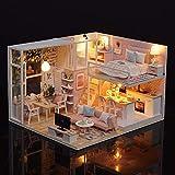 Blusea Häuser für Minipuppen,DIY Miniatur Loft Puppenhaus Kit Realistische Mini 3D Rosa Holzhaus...