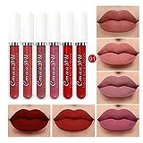 6 Farben Rose Matte Flüssiger Lippenstift - wasserdichte Langlebige Lippenstift Matte Lipgloss Set...